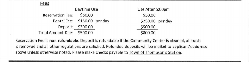 Community Center Rental Fees